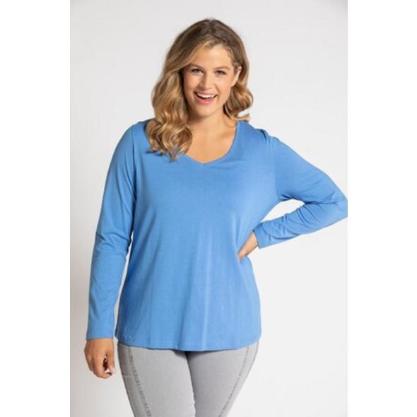 Ulla Popken Basic-Shirt, V-Ausschnitt, Langarm, Slim - Große Größen