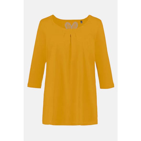 Ulla Popken T-Shirt, Zierfalten, A-Linie, 3/4-Arm, Modal - Große Größen