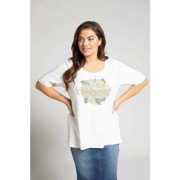 Ulla Popken T-Shirt, Motiv EVERGREEN, Stickerei, Classic - Große Größen