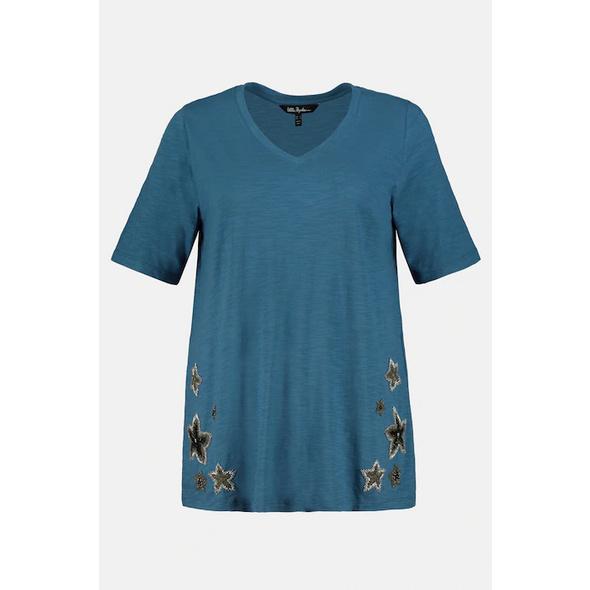 Ulla Popken Shirt, Flammjersey, Sternen-Stickerei, Halbarm - Große Größen