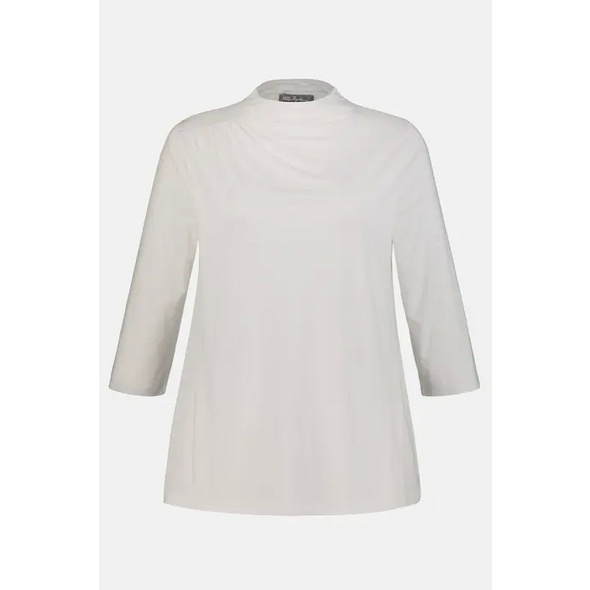 Ulla Popken Shirt, Raffung, Classic, Kelchkragen, Lyocellmix - Große Größen