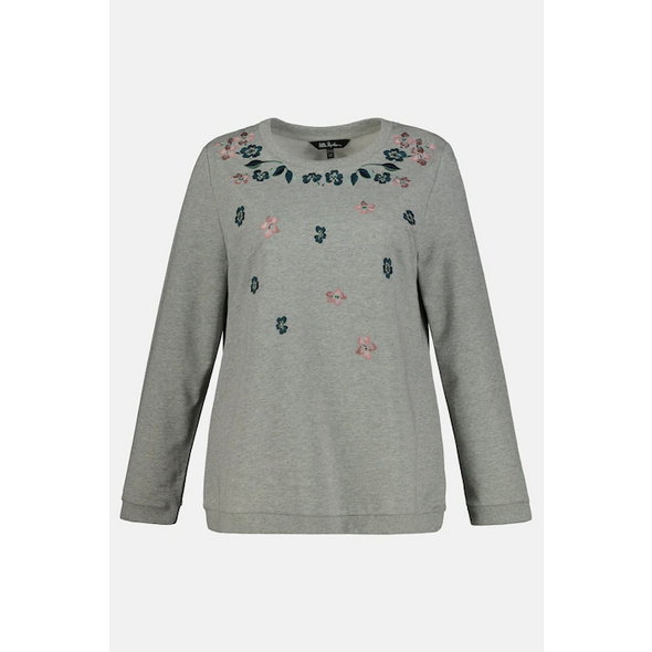 Ulla Popken Sweatshirt, Blüten-Stickereien, Langarm - Große Größen