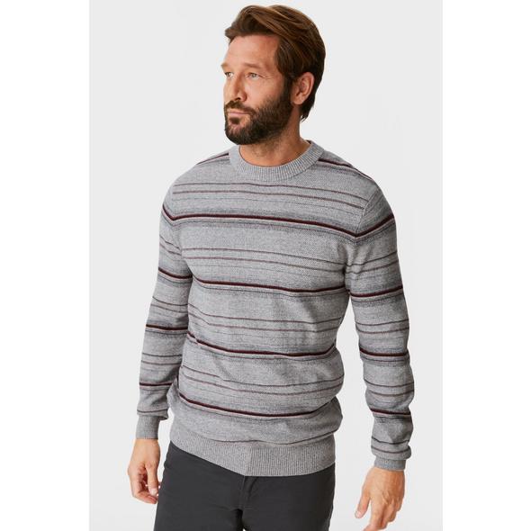 Feinstrick-Pullover - gestreift
