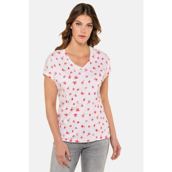 T-Shirt, geblümt, Oversized, Schulterspitze, Gummisaum