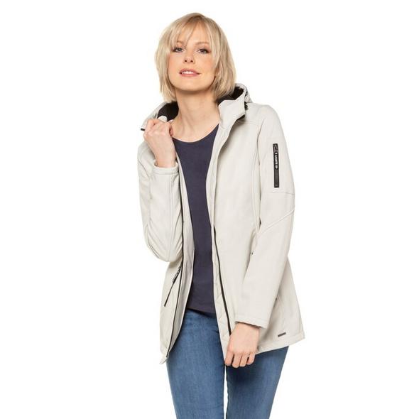 Gina Laura Softshell-Jacke, Kapuze, 2-Wege-Zipper, längere Form