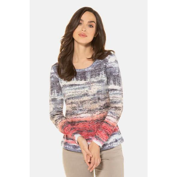 Gina Laura Shirt, Aquarell-Streifen, leicht oversized, Langarm