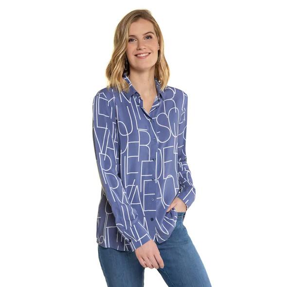 Gina Laura Bluse, Buchstaben-Muster, hinten länger