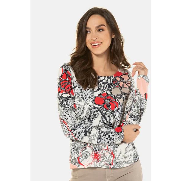 Gina Laura Shirt, Blütenmuster, elastischer Saum, Langarm