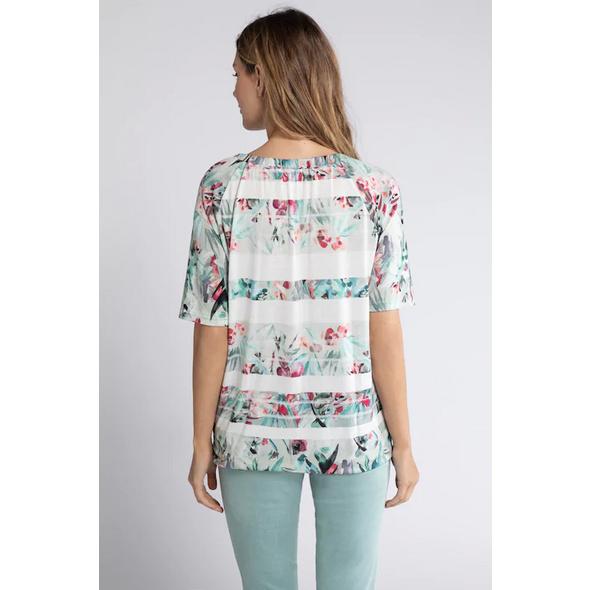 T-Shirt, Blütenstreifen, Carmenausschnitt, Saumband