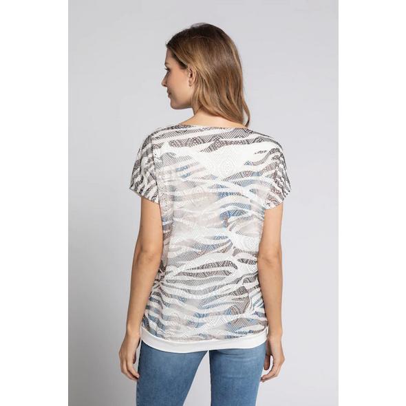 T-Shirt, doppellagig, Netzstoff, Jerseytop