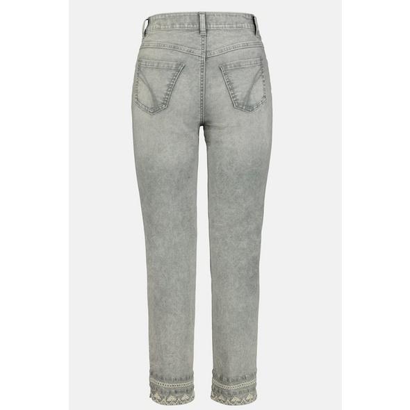 7/8-Jeans Julia, Saumstickerei, schmale Passform