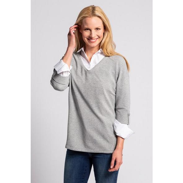 Gina Laura Sweatshirt, Rippenstruktur, Oversized, 3/4-Arm