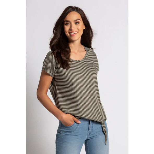 Gina Laura T-Shirt, feine Streifen, Saum-Zierknoten
