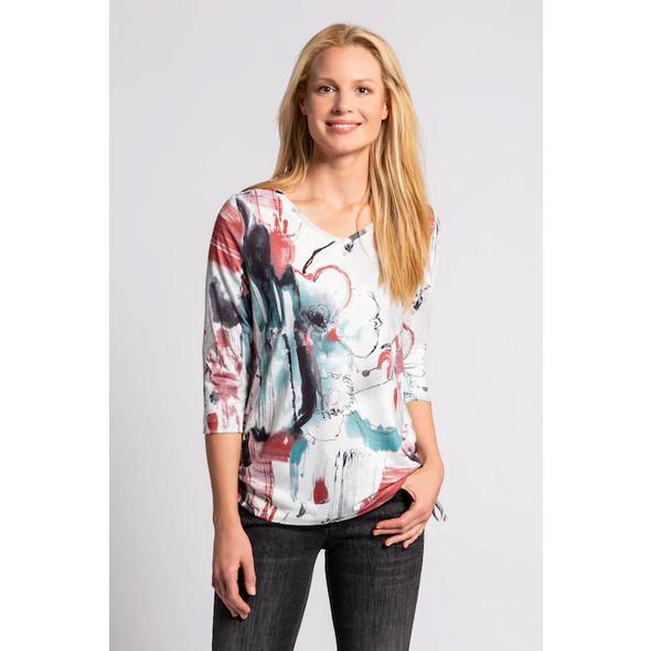 Gina Laura Shirt, Scribble-Blüten, Zierbänder, 3/4-Ärmel