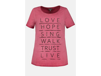 T-Shirt, Schriftmotiv, lässig weit, Rollkante