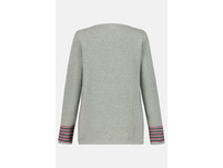 Pullover, Streifenmuster vorne, Baumwoll-Feinstrick