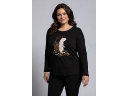Ulla Popken Shirt, Igelmotiv, Classic, Pailletten, Langarm - Große Größen
